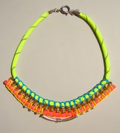 Love this! Neon Rope Necklace with Chain Detail by ZacariPiper on Etsy, $45.00