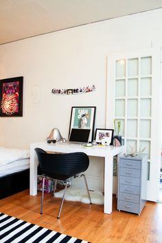 The Parsons desk in white is a great desk for a small space.
