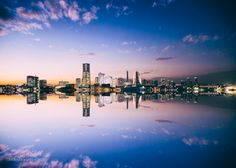 Yokohama cityscape photography,original fine art print Japan photo sunset picture evening wall art mirror artwork reflect print décor art by KaleidoscopesPHOTO2 on Etsy