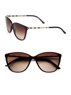 Burberry - Cats-Eye Check Sunglasses - Ive found that cat eye looks best on me! sunglasses for women Ray Ban Sunglasses Outlet, Oakley Sunglasses, Sunglasses Women, Burberry Sunglasses, Sunglasses Online, Summer Sunglasses, Stylish Sunglasses, Sunglasses Case, Jewelry Accessories