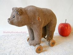 Antique Steiff bear standing on wheels, 1918 – 20 only, made of substitute woven fabric, wooden shoe button eyes, small 7 inch bear pull toy by ShabbyGoesLucky on Etsy