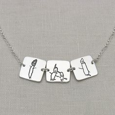 The perfect gift for parents, grandparents, aunts and uncles. Your child's handwriting or artwork memorialized in silver. Easy ordering process and fast turnaround time. Name Jewelry, Custom Jewelry, Silver Jewelry, Jewelry Rings, Silver Rings, Unique Gifts For Men, Gifts For Women, Fingerprint Jewelry, Childrens Artwork