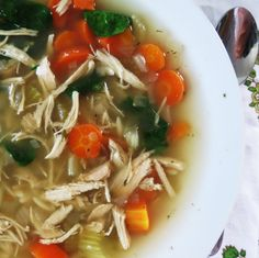 Chicken lemon Soup with Orzo Pasta - An easy crockpot meal that can be thrown together in minutes.  Lots of robust flavor and vegetables, a sure crowd pleaser.