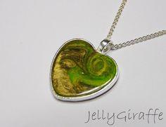 Green and gold enamel heart bridesmaid pendant £20.00