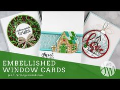 Hello and welcome! Today I am sharing more ideas for creating clear elements on cards... with fun embellishments built in. Fancy Fold Cards, Folded Cards, 3d Cards, Paper Art Projects, Paper Crafts, Jennifer Mcguire, Window Cards, Interactive Cards, Creative Video