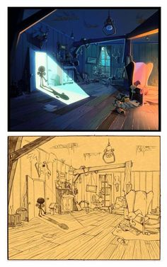 BUBIX ( Bruno Laurent ): Image de synthese ( WIP) - I LOVE that this shows the evolution of a complex lighting sketch. Background Drawing, Cartoon Background, Animation Background, Concept Art Landscape, Art Steampunk, Bg Design, Concept Art Tutorial, Color Script, Art Disney