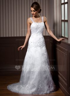 A-Line/Princess Sweetheart Court Train Beading Lace Up Regular Straps Sleeveless Beach General Plus No Winter Spring Summer Fall White Lace Wedding Dress