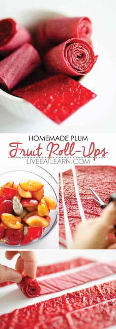 This easy homemade Plum Fruit Roll-Ups recipe requires just a food processor and an oven to make this simple, healthy treat! Perfect as an on-the-go snack, dessert, or even as homemade Halloween candy. // Live Eat Learn Source by darbichavez Healthy Fruit Desserts, Fruit Snacks, Healthy Treats, Healthy Homemade Snacks, Healthy Food, Plum Desserts, Healthy Candy, Fruit Fruit, Kid Snacks