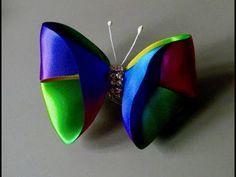 DIY - Borboleta de fita matizada - ribbon butterfly - YouTube Ribbon Art, Ribbon Hair Bows, Diy Hair Bows, Diy Ribbon, Ribbon Crafts, Satin Ribbons, Borboleta Diy, Diy Butterfly, Baby Hair Accessories