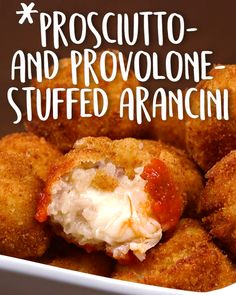 This Italian stuffed rice ball is MORE than deserving. Prosciutto And Provolone Stuffed Arancini, stuffed chicken, sandwich, stuffed peppers 344525440243525142 Italian Dinner Recipes, Italian Appetizers, Sicilian Recipes, Appetizer Recipes, Arancini Recipe, Tapas, Cooking Recipes, Healthy Recipes, Rice Recipes
