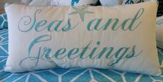 Amazing linen and cotton pillow with bright clear aqua cording to highlight the beautifully scripted letter. Tossed seastar completes the coastal design. Celebrate at the seashore with this bright col