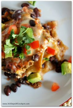 Recipe for CrockPot Mexican Lasagna...an easy dinner and you don't even have to cook the noodles beforehand!