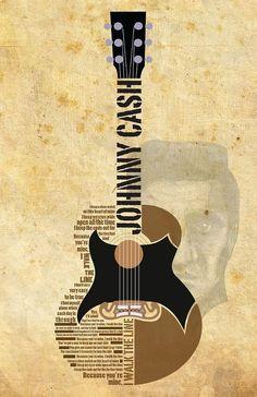 Johnny Cash. Guitar Poster. Banner. Lettering. Illustration. Graphic Art. Graphic Design. Inspiration.