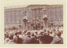 Tourists Watch Changing of the Guard, Buckingham Palace, London: 1962 Vintage photo