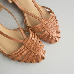 Woven Leather Arrow Sandals. 80s. Use to leave really funky tan lines on my feet.