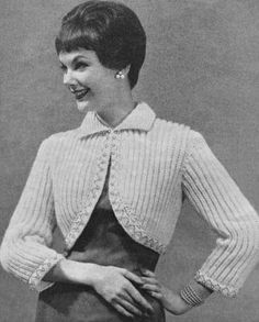 Ribbed Bolero Vintage Knitting Pattern for download Bust 32-38