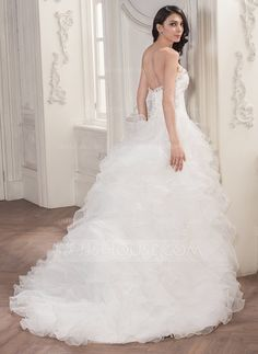 Ball-Gown Sweetheart Court Train Organza Lace Wedding Dress With Beading Sequins Cascading Ruffles (002056946)
