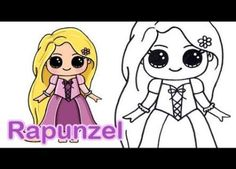 How to Draw Rapunzel from Tangled Cute and Easy Easy Disney Drawings, Easy Drawings For Kids, Disney Princess Drawings, Kawaii Drawings, Cartoon Drawings, Cool Drawings, Princess Pocahontas, Simple Drawings, Princess Belle