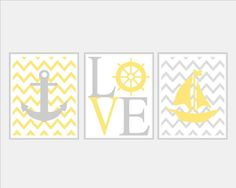 Nautical Yellow Gray Grey Wall Art Sailboat Love Captains Wheel Anchor Set of 3 Prints Girl Boy Nursery Kids Bathroom Bedroom Decor on Etsy, $29.92