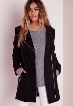 Wool Biker Coat Black - Coats and Jackets - Wool Coats - Missguided