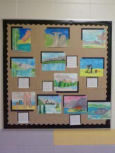 Watercolour Alberta Landscapes, using watercolour pencil crayons. Grades 3 and 4.