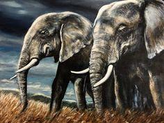 """""""Tusks"""" acrylic on canvas by Sara Cuthbert"""