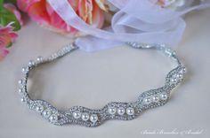 Rhinestone & Pearl Headband Wedding by BeadsBroochesBridal on Etsy, $28.90