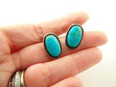 Turquoise Earrings - Clip Earrings - Sterling Silver - Native American - Vintage