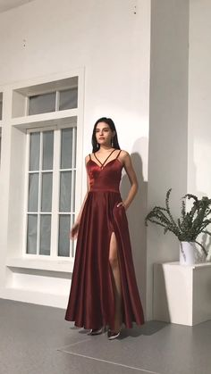 simple burgundy prom dresses cheap a line long prom dresses formal dresses for teens Best Formal Dresses, Grad Dresses Long, Prom Dresses For Sale, Dresses For Teens, Dress Formal, Classy Evening Gowns, Evening Dresses, Red Satin Prom Dress, Dress Prom