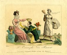A.Martinet/Charon, Satire on marriage: a husband held by a baby's harness kneels before his wife who crowns his head with a garland of roses; another woman passing by remarks 'Voilà le plaisir des dames'. March 1816 Hand-coloured etching