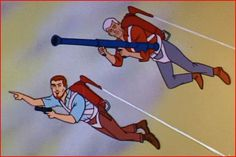 You would think Dr Benton would have mentioned to Race Bannon that a weapon with a massive recoil such as a bazooka was probably not the best choice for a jet pack? Classic Cartoon Characters, Classic Cartoons, Cool Cartoons, Retro Cartoons, Jonny Quest, Vintage Toys 1960s, Retro Toys, Race Bannon, Comic Book Artists