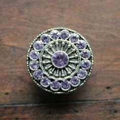 Amazing Crystal Drawer Knobs with Purple Glass Crystals (MK113)