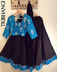 Midnight Blue and Black Jaipur block print gopi skirt/lehenga with readymade choli_Tribhangi_Etsy
