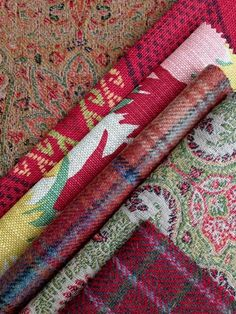 Yuletide Color Story Counter Clockwise From Top Left De Le Cuona Antique Paisley Burgundy Christopher Farr Cloth Travelling Light Ruby
