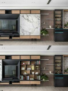 Que tal o painel da sala poder cobrir quando os nichos estão meio bagunçados? Essa estante tem um painel móvel, que permite que você esconda ou a Tv ou os nichos. Veja mais em gouparquitetura.com