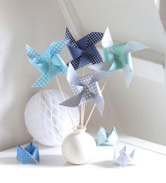 8 moulins vent pour bapt me mariage anniversaire baby shower photobooth coloris gris for Accessoires garcons turquoise et gris