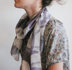 Hand painted silk shaw l hand painted silk scarf | handpainted | aubergine and white | minimalist fashion | fashion accessories | light scarf | long scarf | abstract art