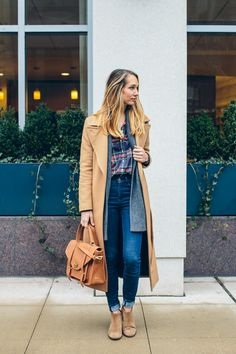 plaid shirt and leather ankle boots, winter outfit, layers — via @TheFoxandShe