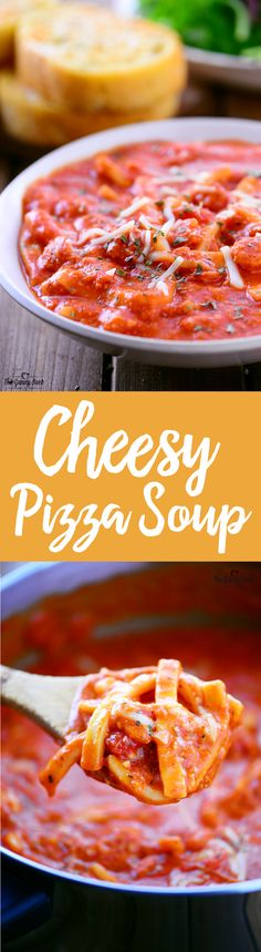 This hearty Cheesy Pizza Soup recipe is like comfort in a bowl with a creamy tomato base, homestyle noodles, mini pepperoni and lots of cheese. Try making it for a family dinner on a cold winter night! Add pepperoni too! Chili Recipes, Soup Recipes, Cooking Recipes, Reames Noodle Recipes, Reames Noodles, Pizza Soup, Chili Soup, Soup Kitchen, Homemade Soup