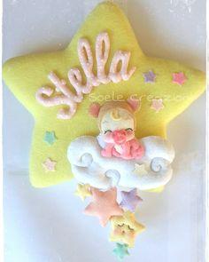 """98 Me gusta, 3 comentarios - Soele Creazioni (@soelecreazioni) en Instagram: """"Fiocco nascita Stella #felt #pannolenci #baby #rosa #pink #babylove #bambini #feltro #feltros…"""""""