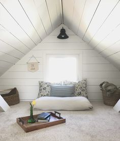 This House of Dreams: Attic Loft Room Makeover Source by thishouseofdreams The post A Cozy Little Loft & This House of Dreams appeared first on Rachel Decor Design. Attic Loft, Loft Room, Bedroom Loft, One Bedroom, Upstairs Loft, Attic House, Loft House, Airy Bedroom, Attic Bedrooms