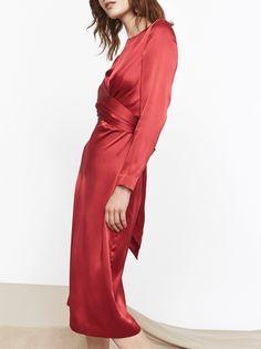 KITRI Simone Red Silk Tie Waist Dress