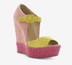 Christian Louboutin Pink, Fuschia And Yellow Wedges//