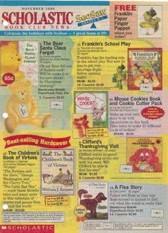 Scholastic Book Club flyer - 1996