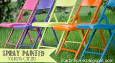 Ugly Metal Folding Chairs...update them with spray paint.  Super easy DIY by Start at Home Decor