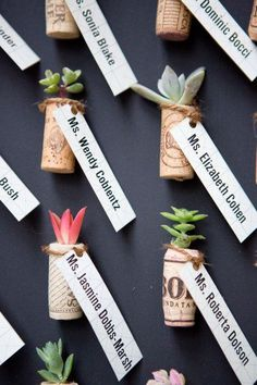 wine cork place card and favor in one