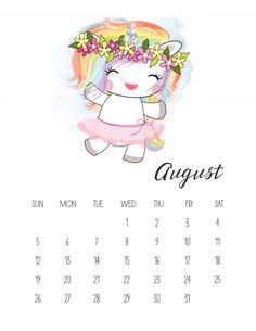 Calendario 2018 de Unicornios para Imprimir Gratis. | Ideas y material gratis para fiestas y celebraciones Oh My Fiesta!