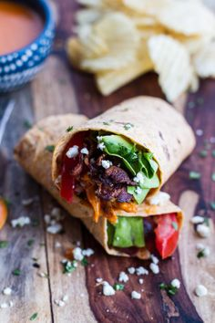 #Recipe / Buffalo Chicken + Avocado BLT Wraps