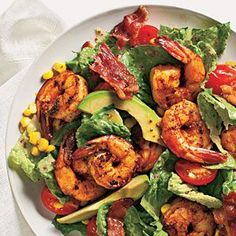 Shrimp Cobb Salad, with bacon, seasoned shrimp sauteed in the drippings, corn, and avocado, over a bed of romaine.