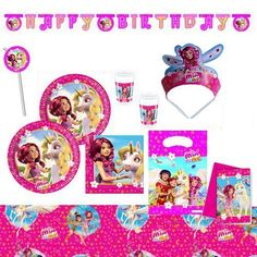 Mia and Me's Party Set Cups Plates Napkins 62 Pieces Children's Birthday Party Decoration 4th Birthday Cakes, Fairy Birthday, Unicorn Birthday Parties, Birthday Party Decorations, Party Themes, Party Ideas, Party Set, Its My Bday, Thing 1